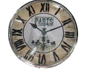 Paris Clock Glass Knob with Metal Base for Dresser Drawers, Cabinet Drawers, Kitchen Cabinets - W22