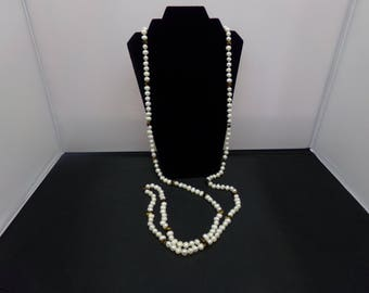 Cultured Pearl and Tiger Eye Super Long Necklace