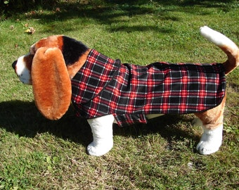 Dog Coat - Black Red and White Corduroy Plaid Coat