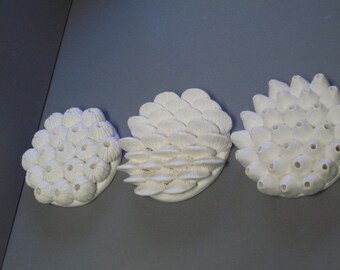 Ceramic round ocean wall sculptures, MADE 2 ORDER ONLY, ceramic coral sculptures, beach art, sea shells, barnacle, coral reef art