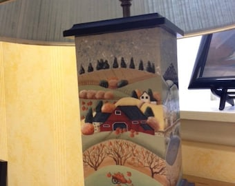 Lamp, wooden, handpainted with summer, fall, winter, spring scene on each side