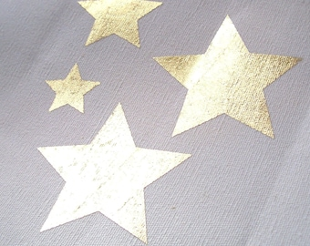 12 Star metal effect iron-on appliques