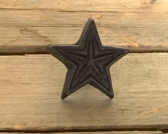 Rustic Cast Iron Star Knob, Farmhouse-Style Drawer Pull, Decorative Cast Iron Knob, Farmhouse 134 BRN