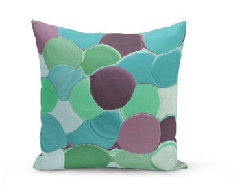 Teal Pillow Cover Accent Pillow Cover Decorative Pillow Cover Home Decor Cushion Cover Throw Pillow Cover Purple Pillow Cover