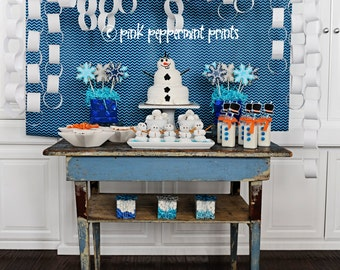NEW INSTANT DOWNLOAD The DIsney Frozen Movie Inspired Snowman Party Printable Party Collection 2 inch party cirlces/ tags