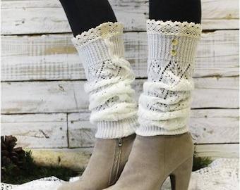 Leg warmers, Ivory lace crochet leg warmers w buttons, ivory knit leg warmer, pointelle leg warmers, cream leg warmers women, winter , fall,