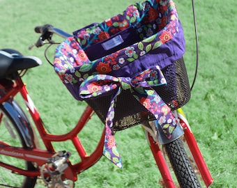 Owl Purple Red Owl  Bike Basket liner for Bell Lotus, Huffy, Electra Bike baskets Metal Wire Wicker or Mesh