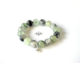 Natural Black Tourmalated Quartz and Prehnite Beads Stretch Bracelet in 10, 12, or 14mm diameter