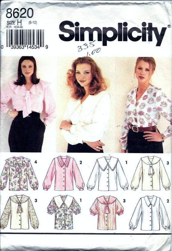 Simplicity 8620 Women\'s Button Up Blouse Sewing Pattern Tie Collar ...