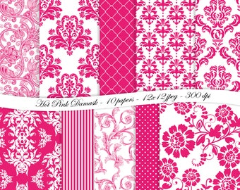 Hot Pink Damask digital scrapbooking paper pack -10 printable jpeg papers, 12x12, 300 dpi - instant download