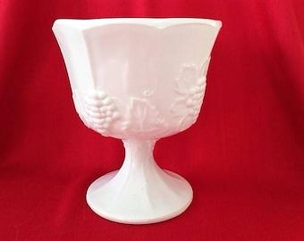 Vintage Milk Glass Compote; pedestal bowl or vase