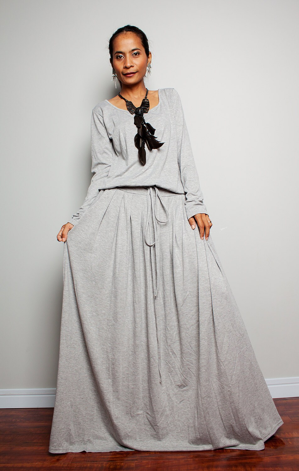 Plus Size Maxi Dress Light Grey Long Sleeve Dress Autumn