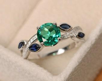 Emerald ring, green emerald ring, multistone ring, leaf ring, sterling silver, ring emerald, emerald engagement ring
