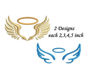 Angel Wings Embroidery Design - 2 designs 4 sizes each machine embroidery INSTANT DOWNLOAD