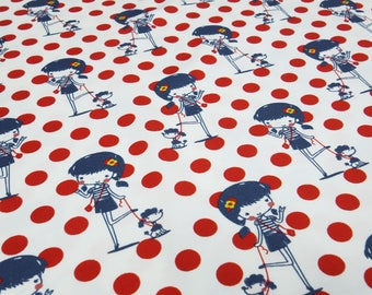 Fabric cotton Jersey Girl dogs dots dots red white blue children fabric (17.40 EUR/meter)