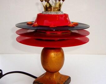 "VINYL RECORD LAMP Red Black Triple Tier Art Unisex Retro Home Decor 7"" Vintage Wood Base Night Light 15 Watts Rocker Table Top Decor Light"