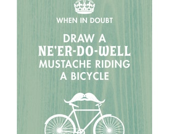 8x10 Print-A Silly Mustache on a Bicycle