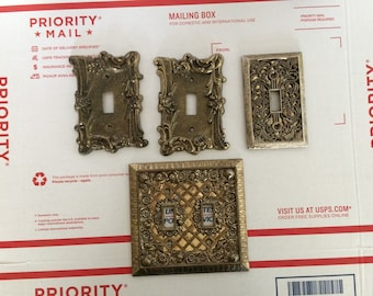 Lot of 4 Vintage Brass Decorative Switch Plate Cover Metal Filigree  Mid Century
