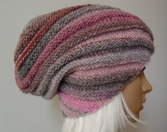 Knitted Slouchy Hat, Beanie Hat, Winter Hat, MADE TO ORDER