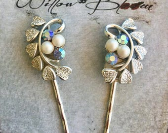 Lisner Bridal Blue Heart Hairpins Vintage 1950 1960 Jewelry Hearts Decorative Bobby Hair Pins