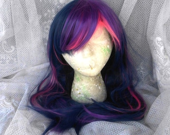 Twilight Sparkle Wig,  MLP Cosplay, Purple and Pink Wig, Dark Purple, Multicolor Wig, Costume,  My Little Pony , my little pony cosplay