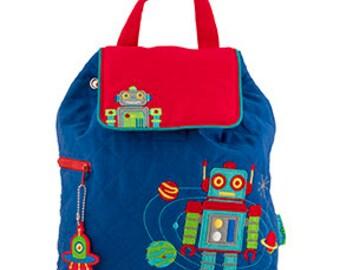 Toddler Stephen Joseph Quilted Robot Backpack, Children's Backpack, Monogram, Personalized Robot Backpack, Diaper Bag, Preschool Backpack