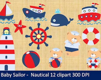 Nautical - Clipart - Sailing /  Away Baby Shower (Boy) - Digital Clip Art (Instant Download)