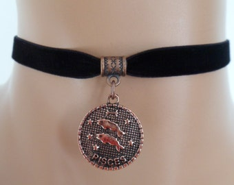 velvet choker, pisces choker, pisces necklace, stretch ribbon, black velvet, zodiac, copper tone