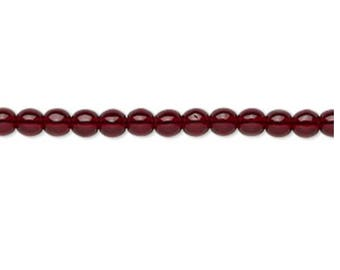 Bead, Czech glass druk, transparent garnet red, 4mm round. Sold per 16-inch strand, approximately 100 beads.