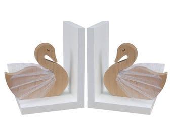 Swan Bookends - Wooden Swan Bookends