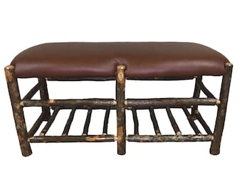 Hickory Moose Bench with Lower Rack - Free Domestic Shipping