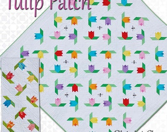 Tulip Patch Quilt Pattern - Spring Quilt and Table Runner Pattern - Yesteday's Charm - Square Quilt Pattern - Tulips Quilt Pattern