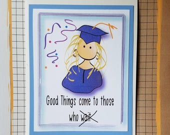 College Graduation Card - Funny High School Graduation Card -Funny College Graduation Card - Custom Graduation Card and Matching Envelope