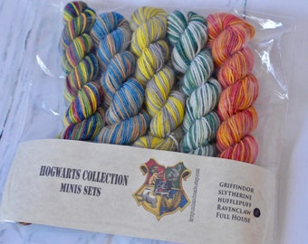 Hand dyed self-striping Harry Potter inspired yarn | Handdyed - Wool - Merino-Nylon | Minis Set | Hogwarts Collection