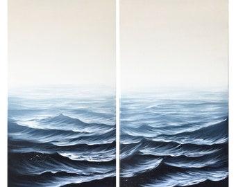Monochromatic Indigo Ocean Waves Art Your Wave is Coming