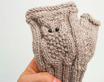 Owl gloves knitted fingerless owl gloves in beige -  COLOR OPTION AVAILABLE