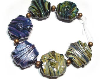 Glass Handmade  Lampwork Beads,   Whirled Tabular Mix