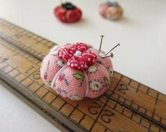 Miniature Pincushion - MADE for YOUR DOLL in Berry Blossom - Larger Sized