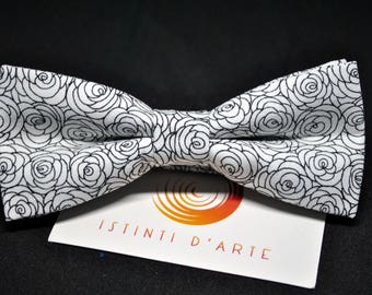 Handmade bow tie for men made up of black and white cotton fabric