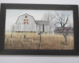 Barn Quilt,Bear Paws Quilt Block Barn, Billy Jacobs,Handmade Frame, Distressed Frame,Barn,Crows,Fall Print