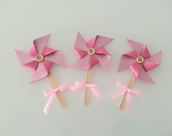 Set of 15 pinwheels in Fommy glitter pink