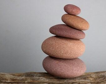 Zen Garden Stones - Mindfulness Art - Balance Game - Pink Beach Stone Cairn - Relaxation Gift - Meditation Altar - Rock Balancing