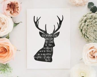 deer, Psalm 18, Hinds' Feet | Psalm 18: 33 | Faith Card | Christian Card | Scripture Art | Bible Verse Art | Bible Verse Card