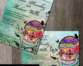 Muerte Sugar Skull Day of the Dead Dia De Los Muertos Digital Printable Wedding Invitation DIY Templates Calaveras offbeat Wedding Invite