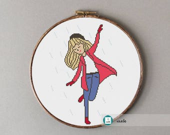 Dancing in the rain cross stitch pattern, modern cross stitch pattern, PDF, instant download