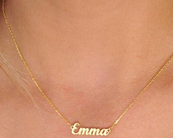 Custom Name Necklace Gold Name Necklace Custom Name Plate Necklace Bridesmaids Personalized Jewelry Necklace Bridesmaid Gift
