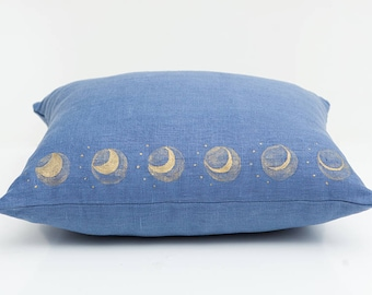 Blue Moon Pillow, Blue, Moon Pillow, Moon Decor, Boho Decor, Bohemian Decor, Boho Pillow, Phases of the Moon, Lunar Phases, Hand Painted