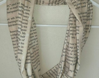 Pride and Prejudice infinity scarf...gift..Jane Austen..literary..book..page..text..Darcy..Christmas..anniversary..Valentine's Day..birthday