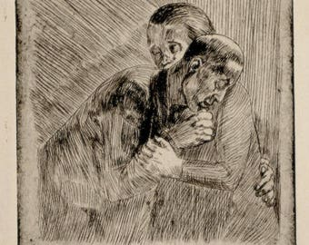 Irving Guyer WPA Artist Original Pencil Signed Etching Sorrow New York c. 1938 Unmatted, Unframed