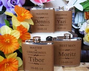 12 Wedding Flask Set Personalized